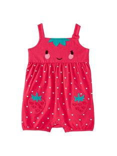 Grenouillère courte bébé fille fraise rose  JEFIGREFRA / 20SH13U4GRE313
