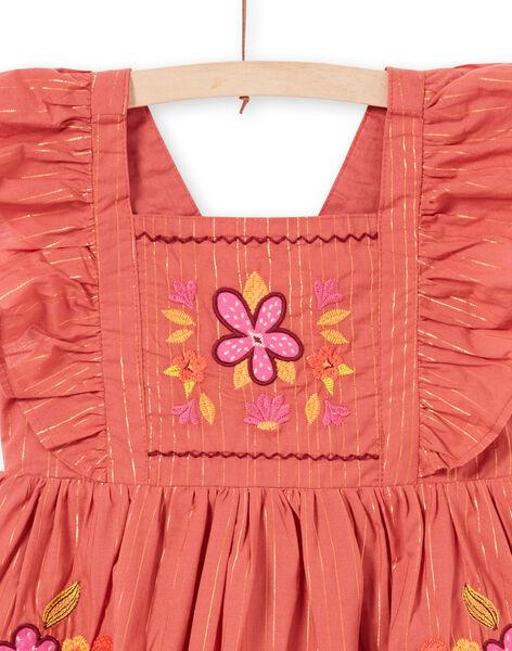 Robe à rayures Lurex® et broderies fleuries enfant fille LATEROB3 / 21S901V1ROBE415
