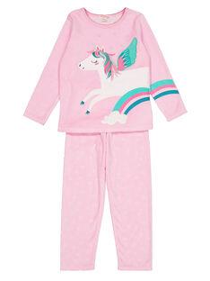 Pyjama rose en velours enfant fille GEFAPYJORN / 19WH11N8PYJD301