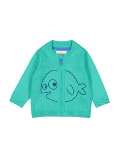 Gilet zippé vert en maille bébé garçon FUJOGIL4 / 19SG1034GIL210