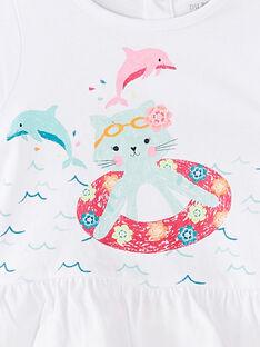 Pyjama court bébé fille blanc JEFIPYJEAU / 20SH13U1PYJ000