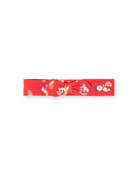 Bandeau rouge imprimé lapins et fleurs bébé fille LYIHABAND / 21SI09X1BAN505