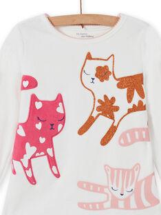 Ensemble pyjama T-shirt et pantalon motif chats enfant fille MEFAPYJCAT / 21WH1184PYJ001
