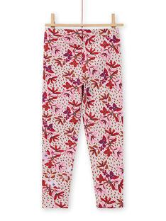 Legging rose à imprimé fleuri enfant fille MYACOMLEG / 21WI01L1CALD329