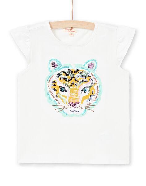 T-shirt manches courtes à motif tête de tigre enfant fille LAVERTI4 / 21S901Q4TMC001