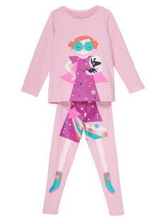 Pyjama déguisement rose enfant fille avec son range-pyjama JEFAPYJCOS / 20SH11L3PYGD303