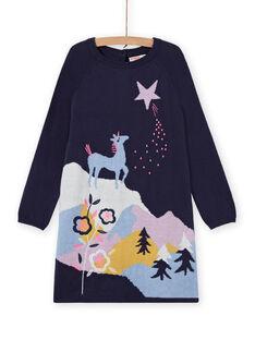 Robe manches longues motif licorne fantaisie enfant fille MAPLAROB1 / 21W901O2ROBC202