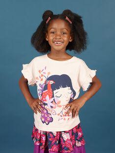 T-shirt manches courtes rose pâle à motifs fillette et paon enfant fille MAPATI2 / 21W901H2TMCD319