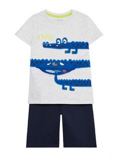 Pyjama court en jersey enfant garçon JEGOPYCROC / 20SH1221PYJJ920
