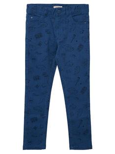Pantalon slim garçon bleu avec imprimé JOGRAPAN2 / 20S902E1PAN622