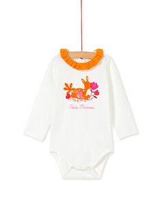 Body blanc à col jaune bébé fille KIREBOD / 20WG09G1BOD001