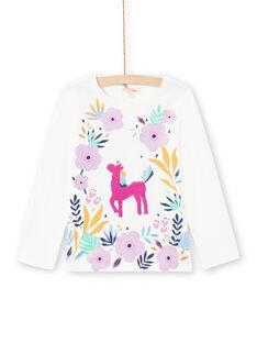 T-shirt blanc et rose enfant fille MAPLATEE2 / 21W901O1TML001