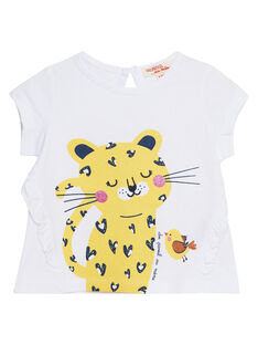 Tee shirt écru manches courtes bébé fille JITROTI1 / 20SG09F1TMC000