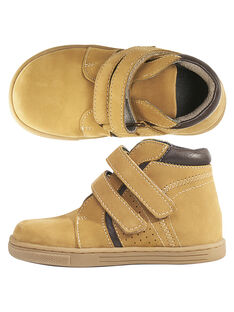Boots en cuir camel réhaussée par un col matelassé en cuir marron.  GGBASBOOT / 19WK36I7D3F804