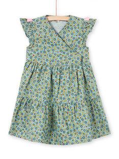 Robe vert kaki à volants et impimé fleuri enfant fille MAKAROB2 / 21W901I1ROB612
