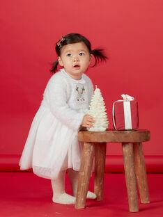 Robe blanche avec tulle bébé fille KINOROB2 / 20WG09Q2ROB001