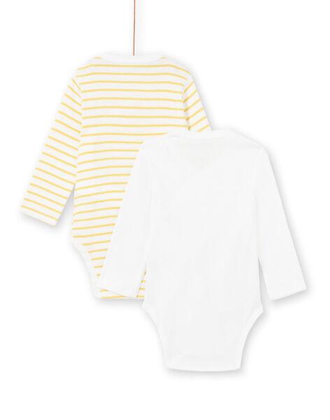 Lot de 2 bodys jaune et blanc naissance garçon LOU1BOD2 / 21SF04H2BOD000