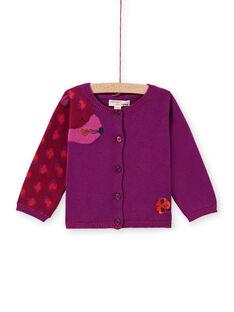 Cardigan maille violet motif léopard bébé fille MIPACAR / 21WG09H2CAR712