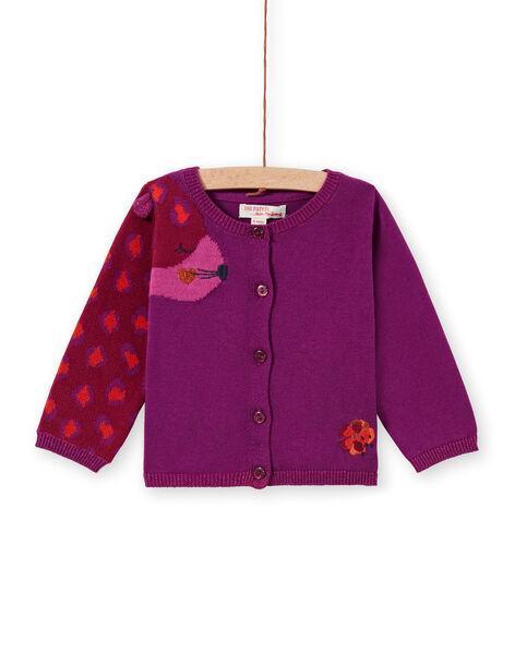 Cardigan en maille violet à motif léopard bébé fille MIPACAR / 21WG09H2CAR712