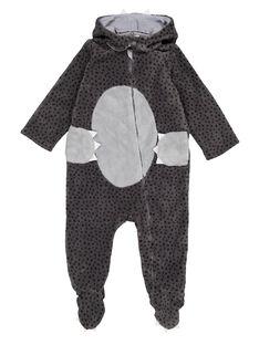 Surpyjama loup gris en soft boa layette garçon GEGASURPYJ / 19WH14N1SPY929