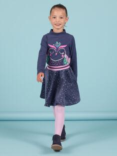 Sous-pull bleu marine à motif hibou à paillettes enfant fille MAPLASOUP / 21W901O1SPLC202