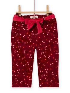 Pantalon rouge bordeaux imprimé fleuri en satin bébé fille MIFUNPAN1 / 21WG09M2PAN504