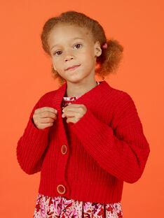Gilet maille rouge enfant fille MACOMCAR1 / 21W901L2CAR408