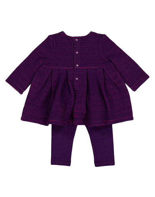 Ensembe robe et leggins violet layette fille GIVIOENS / 19WG09R1ENS708