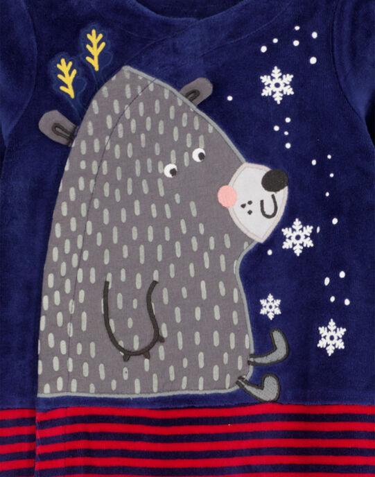 Grenouillère de Noël en velours layette garçon GEGAGRENOEL / 19WH14T1GRE070