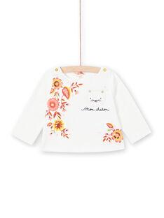 T-shirt écru imprimé fleuri et motif chat bébé fille LINAUTEE / 21SG09L1TML001