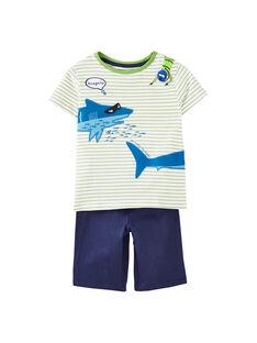 Pyjama court enfant garçon vert et écru JEGOPYCPLON / 20SH12U2PYJ001