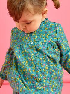 Blouse imprimé fleuri et rayures bébé fille MIKACHEM / 21WG09I1BLU612