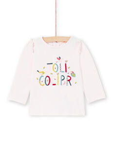 T-shirt manches longues rose lettrage Joli Colibri bébé fille MIKATEE / 21WG09I1TML632