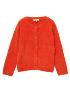 Cardigan Orange en maille plume JAVICAR / 20S901D1CAR406
