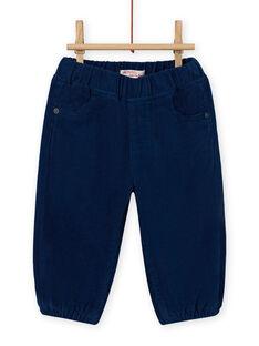Pantalon bleu nuit en velours côtelé bébé garçon MUJOPAN3 / 21WG1012PAN713