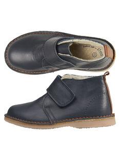 Boots en cuir lisse bleu réhaussée d'une large bande auto-agrippante.  GGBOOTVITAL / 19WK36X1D0D070