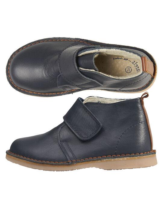Boots cuir marine enfant garçon  GGBOOTVITAL / 19WK36X1D0D070