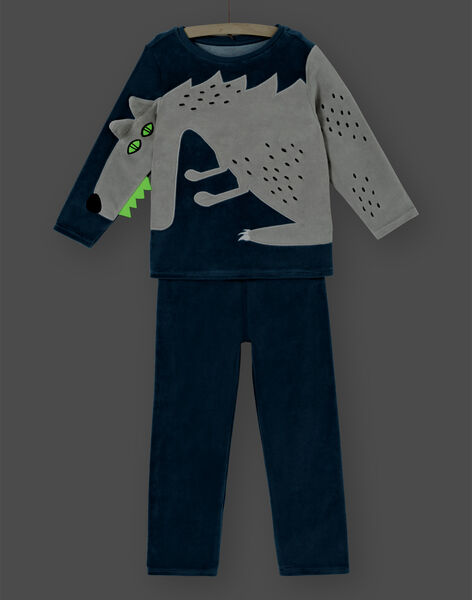 Pyjama enfant garçon en velours animation loup LEGOPYJLOU / 21SH1214PYJ209
