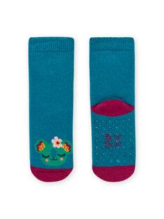 Chaussettes unies bleu turquoise à motif animal bébé fille MYIJOSOQB3 / 21WI0915SOQC217