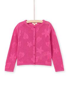 Cardigan manches longues, maille fantaisie ajourée et motif feuille et fleurs LAVICAR / 21S901U1CAR304