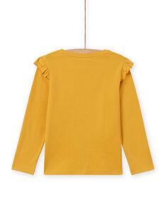 T-shirt manches longues jaune motif renard enfant fille MASAUTEE2 / 21W901P1TMLB107