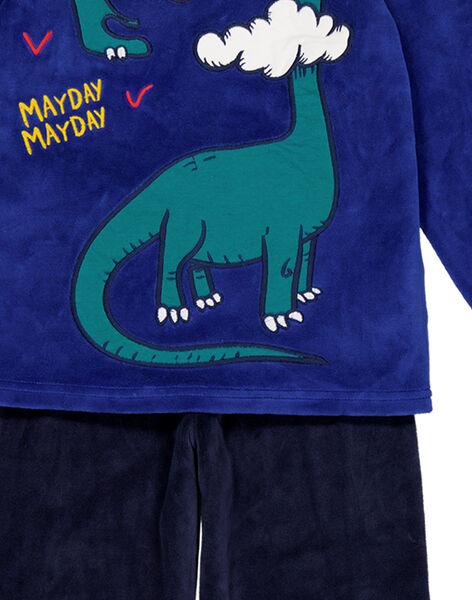 Pyjama bleu en velours enfant garçon GEGOPYJDIP / 19WH12N1PYJ703