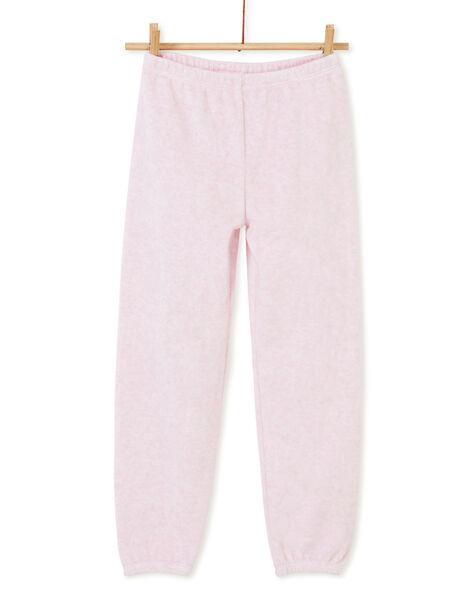 Pyjama enfant fille rose chiné motif éléphant KEFAPYJELE / 20WH11I4PYJD314