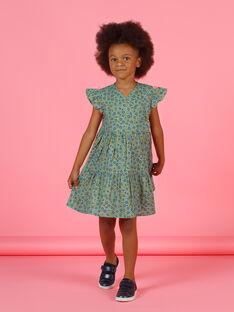 Robe kaki manches courtes à impimé fleuri enfant fille MAKAROB2 / 21W901I1ROB612