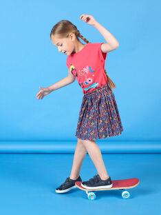 Jupe rose et bleue imprimé fleuri enfant fille LAHAJUP / 21S901X1JUP070