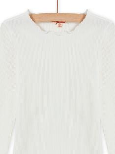 T-shirt écru côtelé enfant fille MAJOUTEE1 / 21W90127TML001