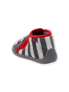 Chausson velours gris et rayures bébé garçon  GBGBOTRAT / 19WK38Z1D0A940