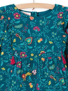Robe bleu canard en twill imprimé fleuri enfant fille MATUROB1 / 21W901K2ROB714