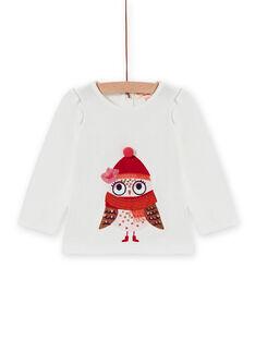 T-shirt écru manches longues à motif hibou bébé fille MIFUNTEE / 21WG09M1TML001