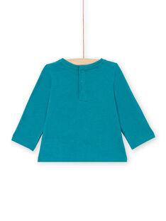T-shirt manches longues bleu canard à motifs koala et fleurs bébé fille MITUTEE2 / 21WG09K2TMLC217